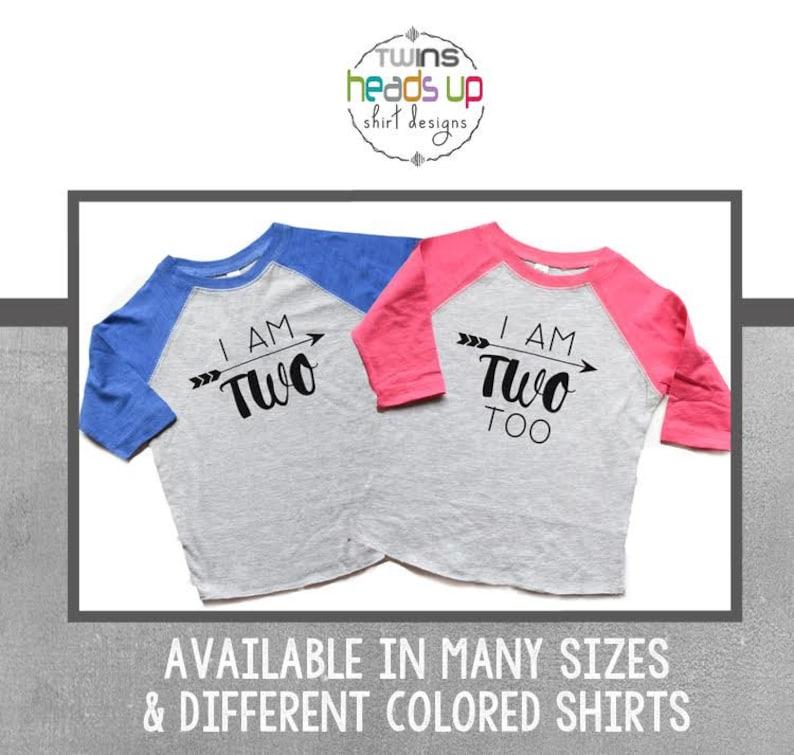 d2aa063d Twin Two Birthday Shirts Raglan Boy/Girl I Am Two/I Am Two | Etsy