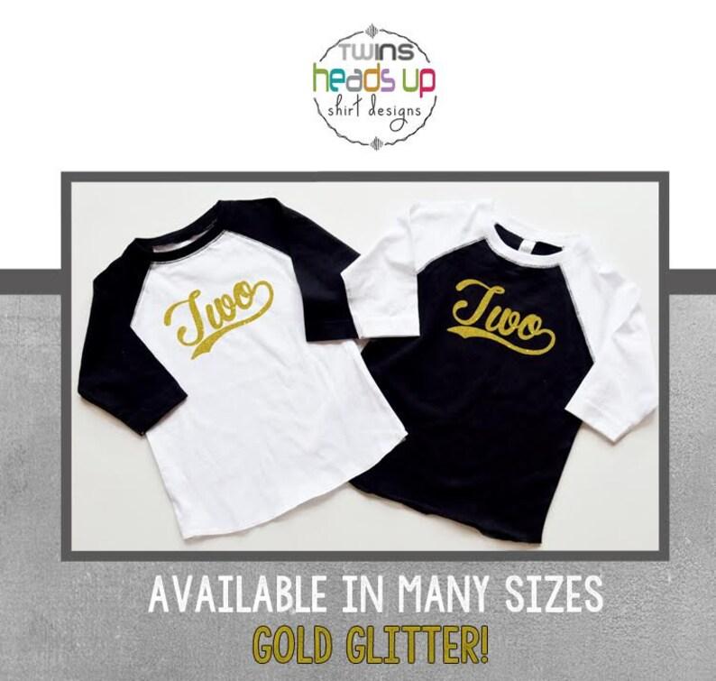 4dd1381c Twin Girls Second Birthday Shirts Raglan Gold Glitter 2nd   Etsy
