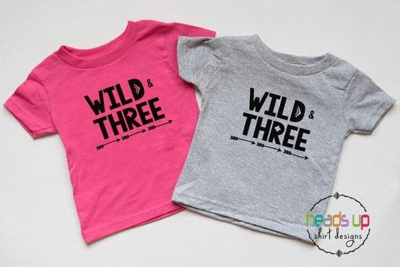 Wild And Three Twin Shirts Boy Girl Twins 3rd Birthday Shirt