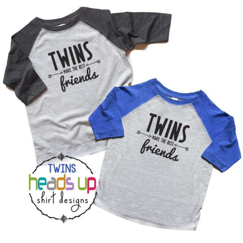 72a37b2a3 Twin Boy Shirts Twins Make the Best Friends Raglan tshirts | Etsy