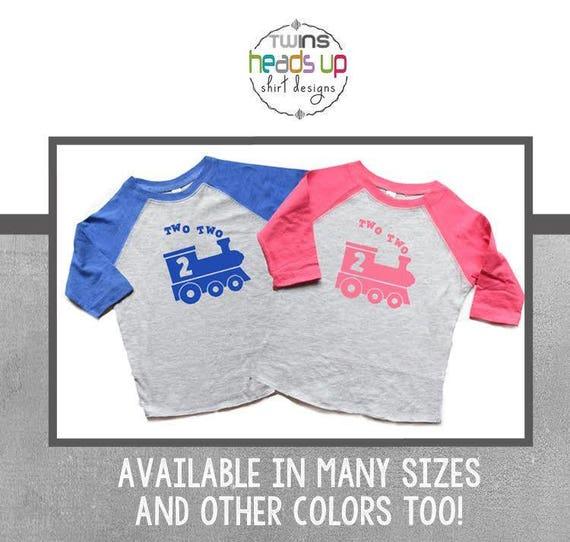 Twin Boy Girl Train 2nd Birthday Shirts Raglan Two