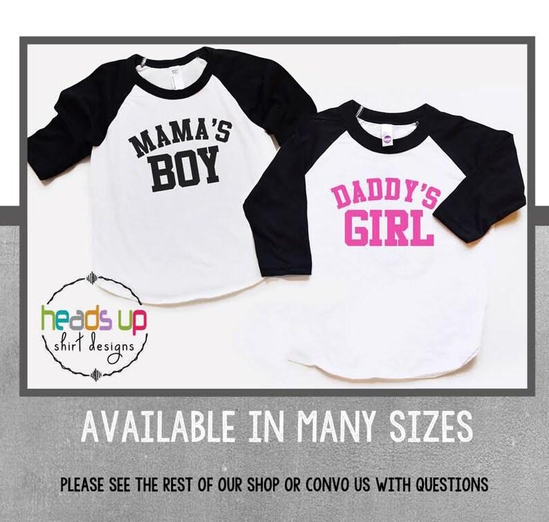 c04f4f1276065 Mama's Boy/Daddy's Girl Shirts Raglan Boy/Girl Twin | Etsy
