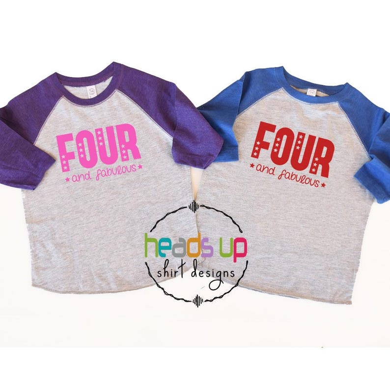 Twin Boy and Girl Four Birthday Shirts - Toddler Twins 4th Birthday Raglan  tshirts - Trendy Four and Fabulous ... d36bdd838