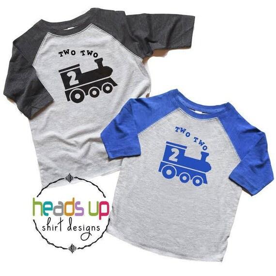 Twin Boys Train 2nd Birthday Shirts Two Raglan