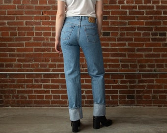 fe720fe668f Vintage Levis Size 31 / 12 With 32 Inch Waist | 90s Levi 501 | Straight Leg Button  Fly Light Wash Blue Jeans | USA Cotton Denim