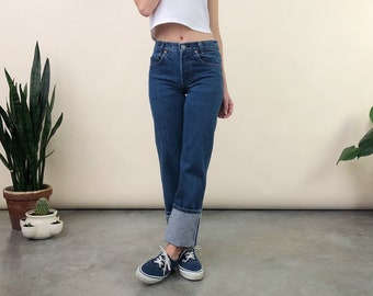 3b0079c9207 Vintage Levis Size 00 / 24 | 80s 90s Student Levi 701 | Petite Button Fly  Medium Blue Jeans USA Cotton Denim | 26 Inch Waist
