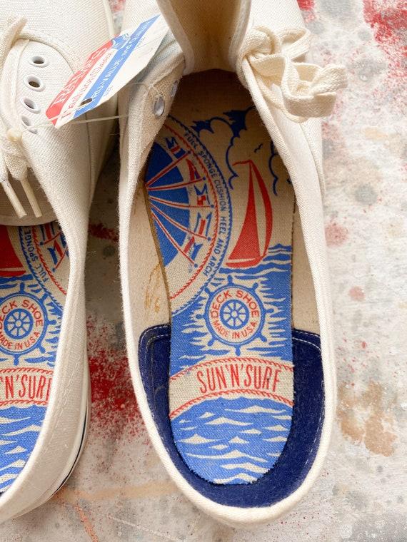 60s Sun'N'Surf Deadstock White Canvas Deck Shoes … - image 7
