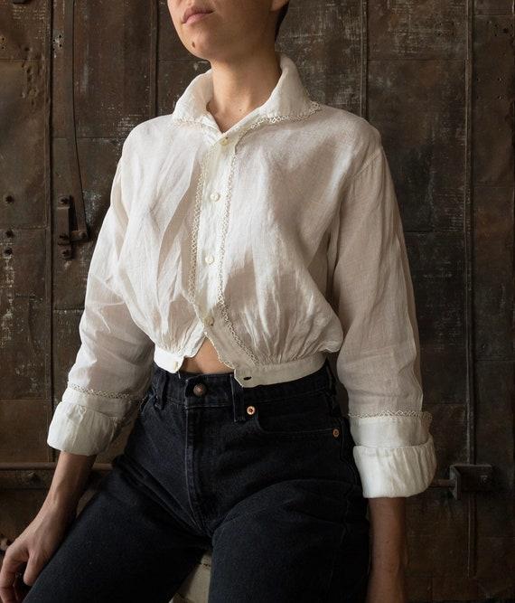 Vintage Cotton Summer Top | Edwardian Antique Blou