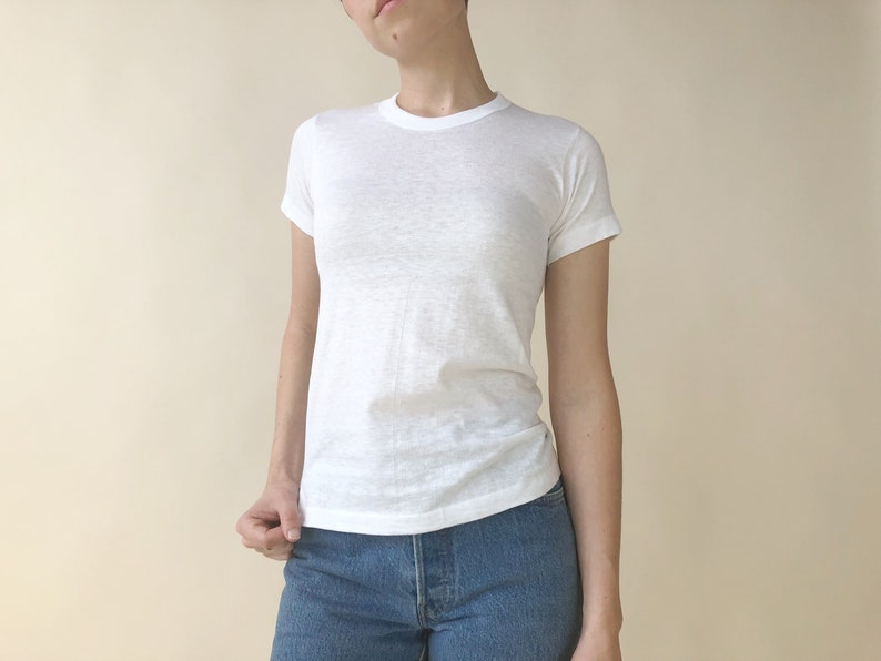 d5e6a08ef0 Vintage 70s Hanes Plain White T-Shirt Women's Petite XXS | Etsy