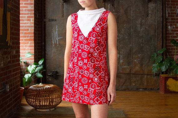 60s Mod Bandana Mini Dress | Size XS