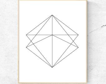 Geometric Diamond Minimalist Wall Art - Digital Print, Instant Download - Home Decor, Wall art, print.