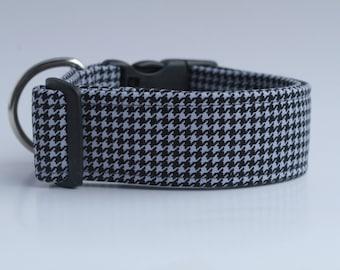 Black Houndstooth Dog Collar
