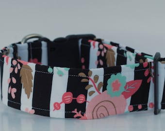 Black & White and Flowers All Over Dog Collar -- Black, White, Mint and Blush