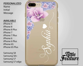personalized phone casefloral iphone 8Clear case iPhone Xmonogram iPhone 7,iphone 8 case,Samsung S7,purple phonecase,transparent,i phone 6,