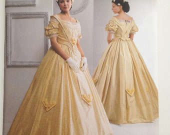Civil War Era Gone with the Wind Womens Dress Costume Sewing Pattern No. 2881 New 8,10,12,14