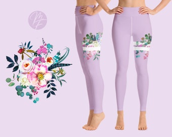 2ff1e53ae1a4d3 Spring Lilac Floral Yoga Leggings Women's High Rise Ankle Length
