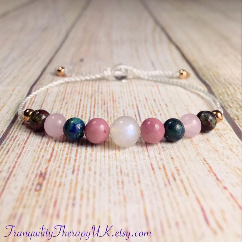 Endometriosis and Fibroids Fertility Gemstone Bracelet  Hormone Balancing   Ease Cramps  Calm Emotions  Crystal Healing Therapy  Rose Quartz