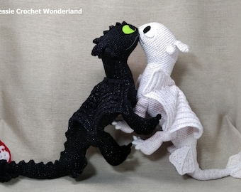 c03aa07a0c0 Toothless fall in love   Toothless English crochet pattern download    Crochet Light fury and Night fury  How to train your dragon inspired