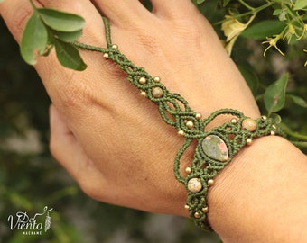 Macrame's slave with Unakita/slave bracelet with Unakite stone/Bohemian Jewelry/Boho Festival/Faerie