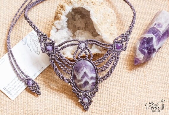 amethyst macrame necklace