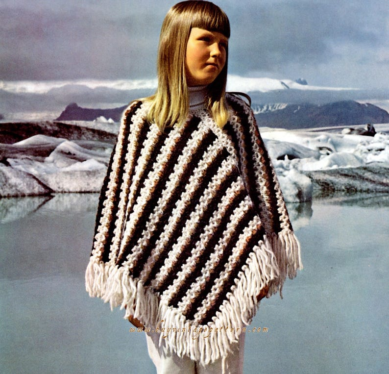 Vintage Girl Poncho knitting pattern in PDF instant download version , PDF  downloadable