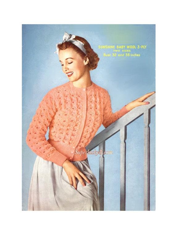 Vintage Bed Jacket Knitting Pattern In Pdf Instant Download Etsy
