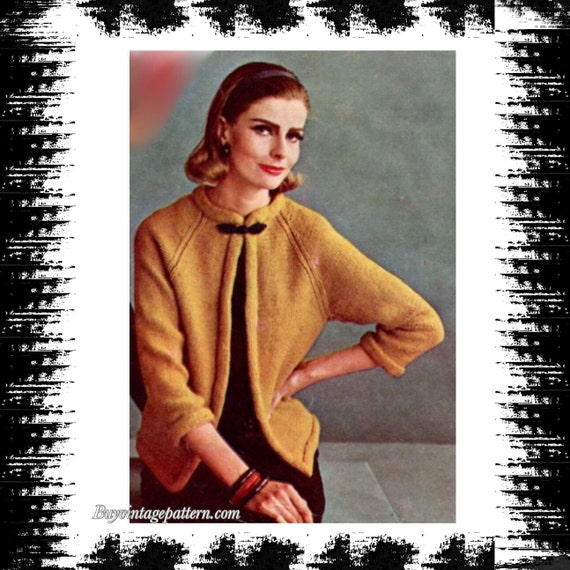 Vintage No Buttons Jacket Knitting Pattern In Pdf Instant Etsy