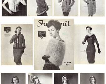 ebook , Vintage Fairknit vol.24 knitting pattern Book in PDF instant download version , PDF downloadable