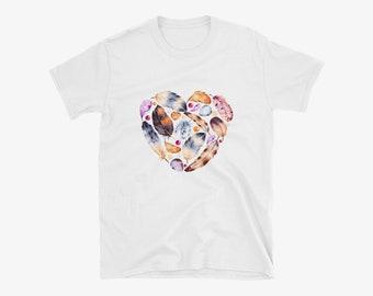 Plume et oeufs coeur T-Shirt