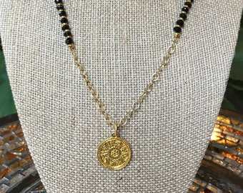 14k solid gold 12x8 mm Herkimer diamond with 4x6 gold bead pendant on 19 inch gold chain necklace