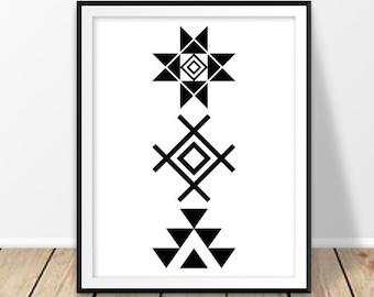 Southwestern decor, Aztec wall art, Tribal print, Aztec art, Black White Geometric, Modern Minimalist, Native American art, Navajo art