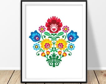 Folk art print, Polish pattern, Floral wall art, Flower art, Rustic art, Digital download, Poland ornaments, Wycinanki, Warsaw
