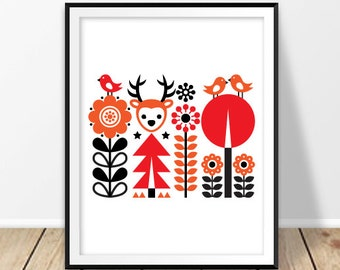 Scandinavian modern Folk art print Digital Nordic wall art Finnish wall decor Finland Deer Bird Flower artwork Instant download Pattern Baby