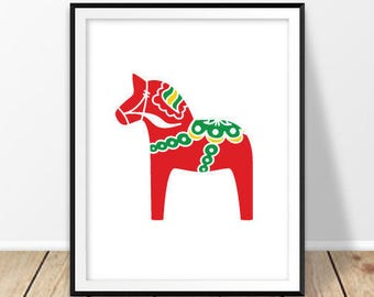 Nursery room wall art, Scandinavian art, Scandinavian print, Swedish dala horse, Red horse poster, Sweden folk, Kids room, Bedroom printable