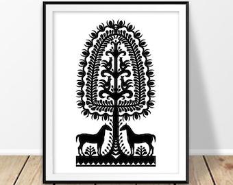 Digital wall art, Polish folk art print, Poland, Horse wall decor, Primitive, Folk pattern, Black and white, Kurpie, Folklore wall art