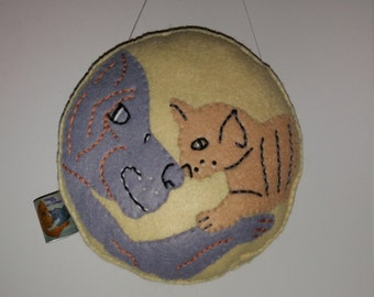 Cat and Dog Hanging Art Doll