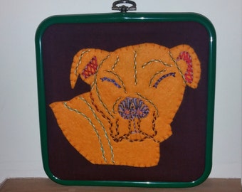 Handmade Staffordshire  Bull Terrier Hand Embroidery