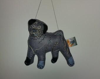 Grey Pug Dog Art Doll