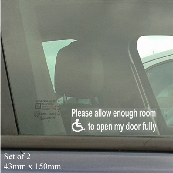 Safety Sign Vinyl Sticker 50mm x 150mm Disable Parking Leave Space for Access
