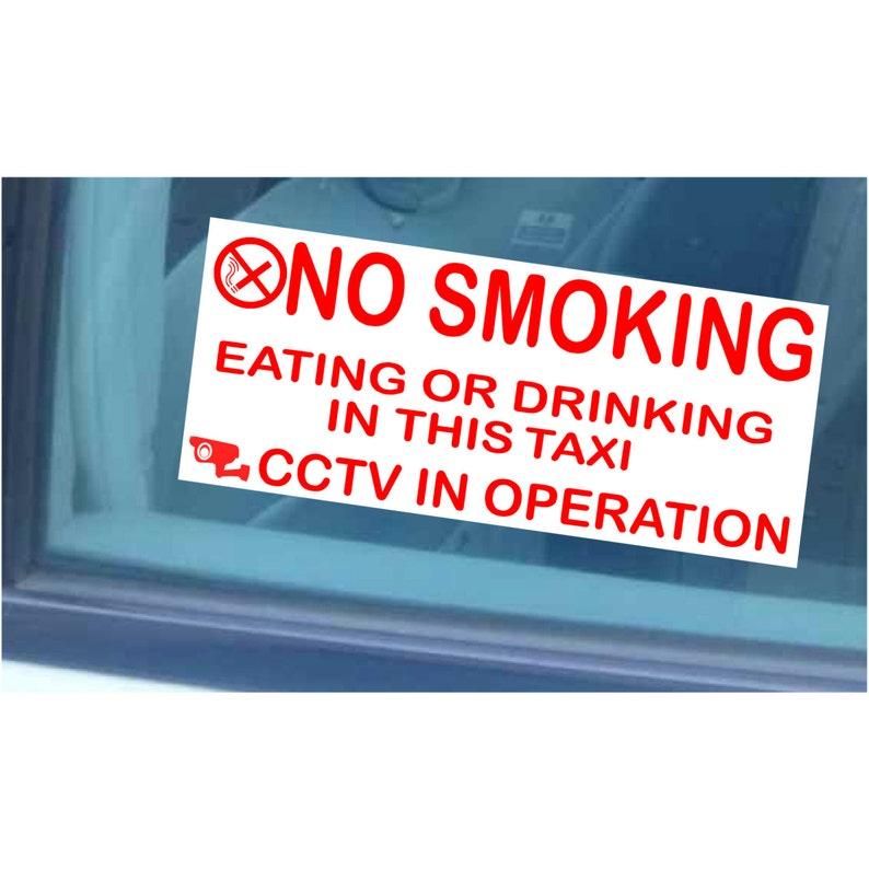 2x Taxi//Minicab Warning Window Stickers No Smoking,Eating,Drinking-Cab CCTV