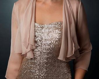 chiffon jacket,shrug, wedding bolero, wedding guest dress, bridal bolero