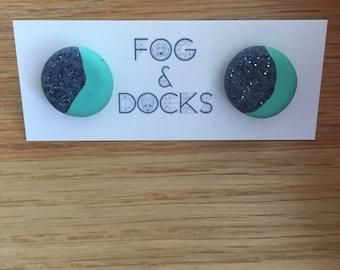 Handmade Polymer Clay Earrings - Two Tone - Glittery Grey/Mint Green