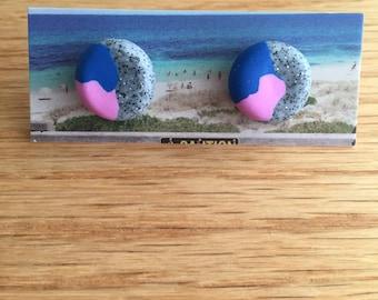 Handmade Polymer Clay Earrings - Three Tone - Glittery Grey/Deep Blue/Violet