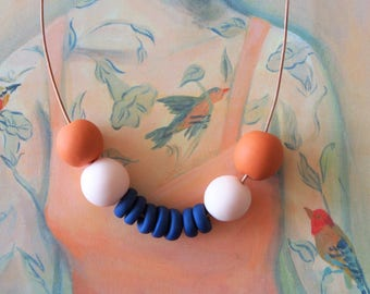 OOAK Handmade Polymer Clay Necklace - Chile Collection - Eleven Bead Small