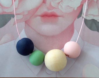 Handmade Polymer Clay Necklace - Four Beads - Denmark Collection