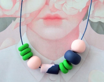 OOAK Handmade Polymer Clay Necklace - Party - Denmark Collection