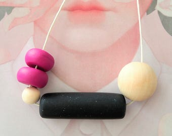 OOAK Handmade Polymer Clay Necklace - Five Bead Cylinder Magneta - Belgium Collection