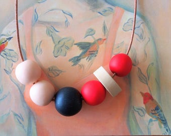 OOAK Handmade Polymer Clay Necklace - Chile Collection - Six Bead Black