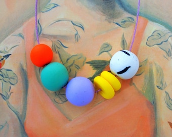 Handmade Polymer Clay Necklace - Netherlands Collection - Six Bead Donut