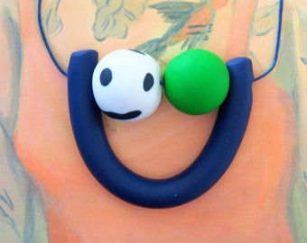 Handmade Polymer Clay Necklace - Estonia Collection - Two Bead U (LGE)